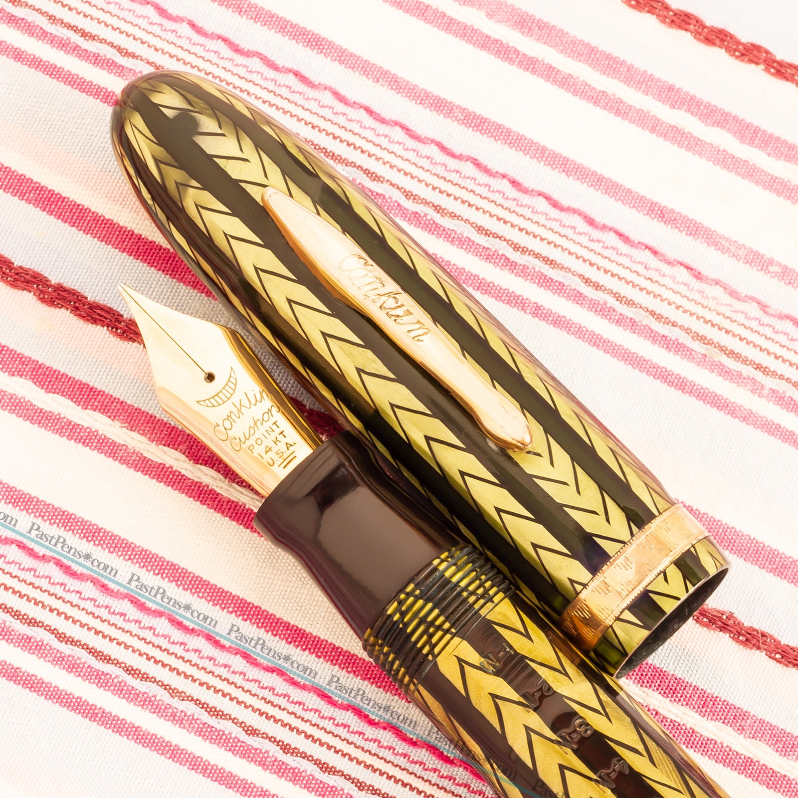 vintage conklin nozac word gauge green herringbone fountain pen co021 v