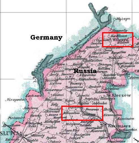 This map shows the distance between Joseph and his wife's birthplaces and the border of Germany in 1880.