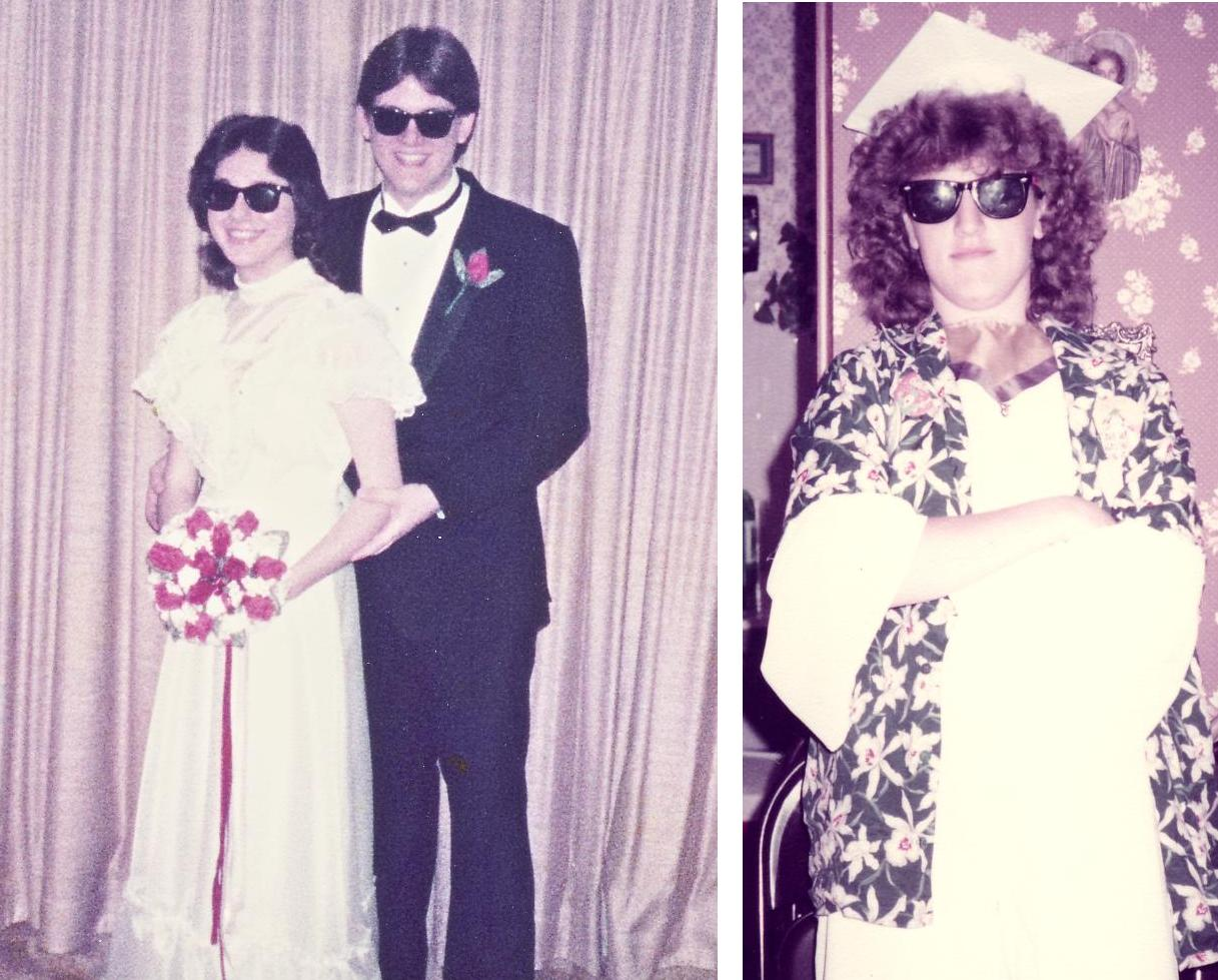 Lou and I at my senior prom; my friend Kathy as one seriously cool graduate.