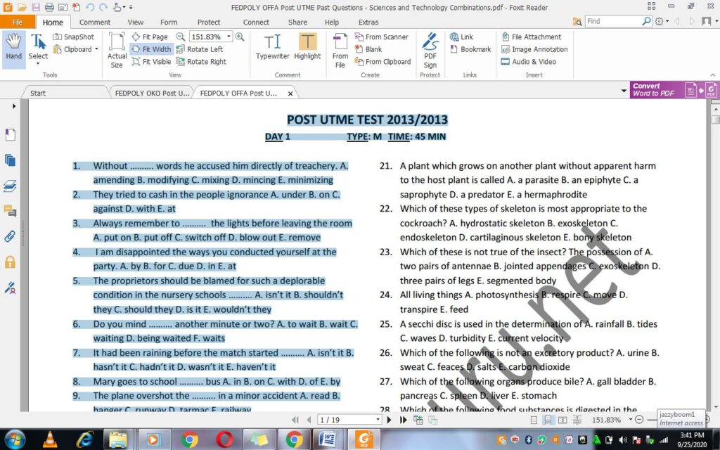 Offapoly Post UTME Past Questions and Answers PDF