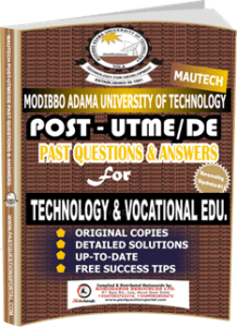 MAUTECH Post UTME Past Questions for TECHNOLOGY VOCATIONAL EDUCATION