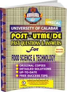 UNICAL Past UTME Questions for FOOD SCIENCE TECHNOLOGY