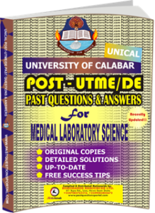 UNICAL Past UTME Questions for MEDICAL LABORATORY SCIENCE