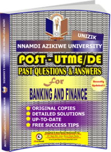 UNIZIK Past UTME Questions for BANKING AND FINANCE