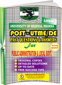 UNN Past UTME Questions for PUBLIC ADMINISTRATION LOCAL GOVT