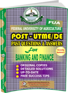 FUA Post UTME Past Questions for BANKING AND FINANCE