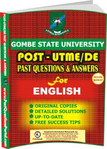 GSU Post UTME Past Questions for ENGLISH