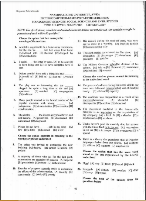 UNIZIK Post UTME Past Questions and Answers