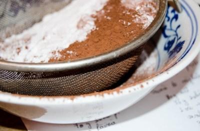 cocoa powder and flour