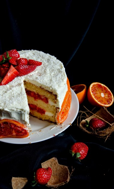 strawberry blood orange cake