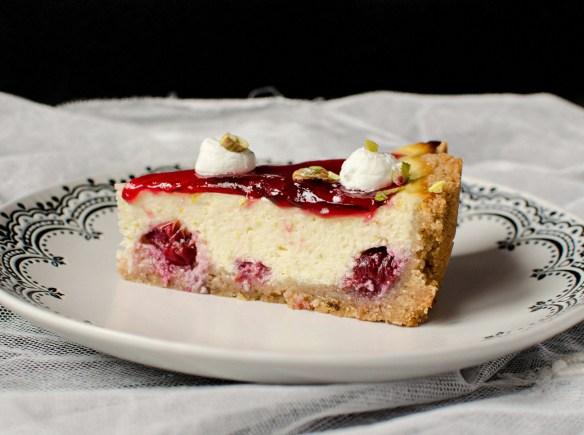 pistachio cherry cheesecake tart