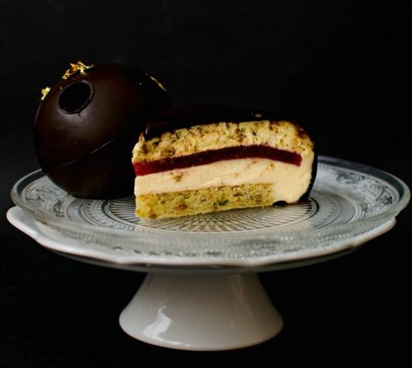 pistachio raspberry entremet
