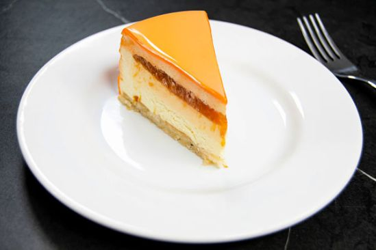 slice of apricot rosemary entremet