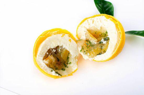 insert of a lemon shaped dessert