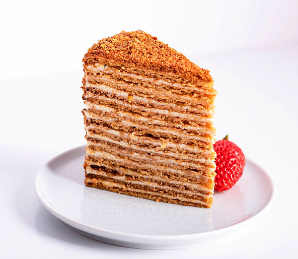 slice of medovik - russian honey cake