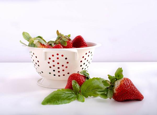 basil and strawberries