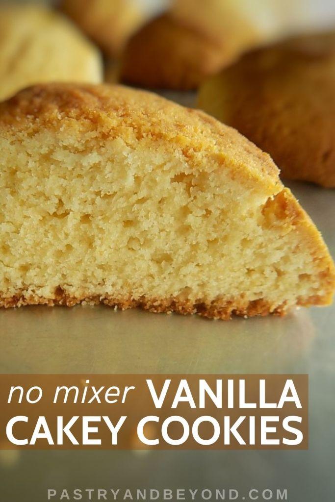 Half of a vanilla cakey cookie.