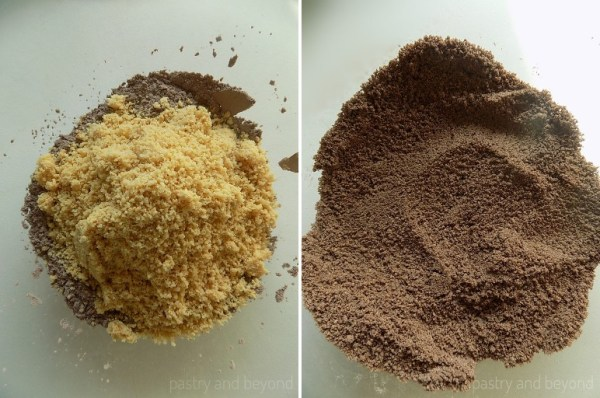 Steps of Making Flourless Hazelnut Cocoa Cookies: Mixing ground hazelnuts and cocoa mixture.