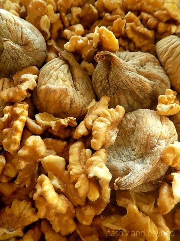 Dried figs and walnuts