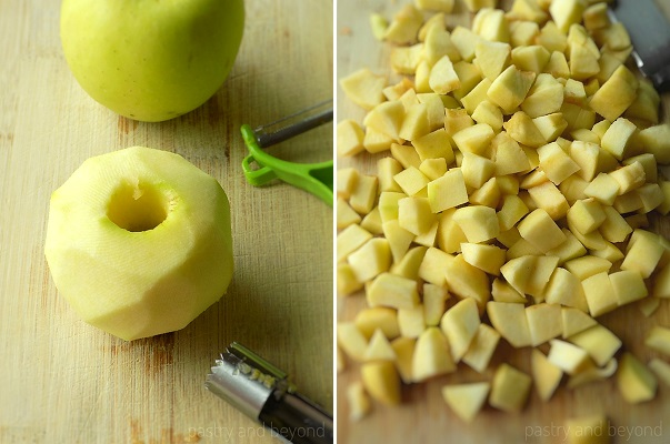 Steps of Making Apple Crumble: Peeling, coring and slicing the apples into cubes almost 0,8 inches (2 cm) thick.