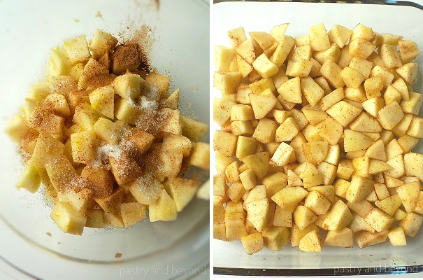 Tossing apples with sugar, cinnamon, lemon zest, lemon juice and placing the mixture into oven-proof dish.