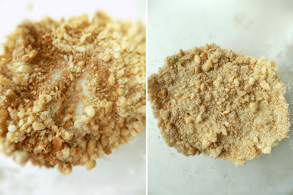 Steps of Making Apple Crumble: Adding the sugar, cinnamon and nuts into flour-butter mixture and mixing to combine.
