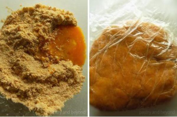 Steps of Making Curry Savory Cookies: Adding egg to the mixture and mixing until forming a ball.