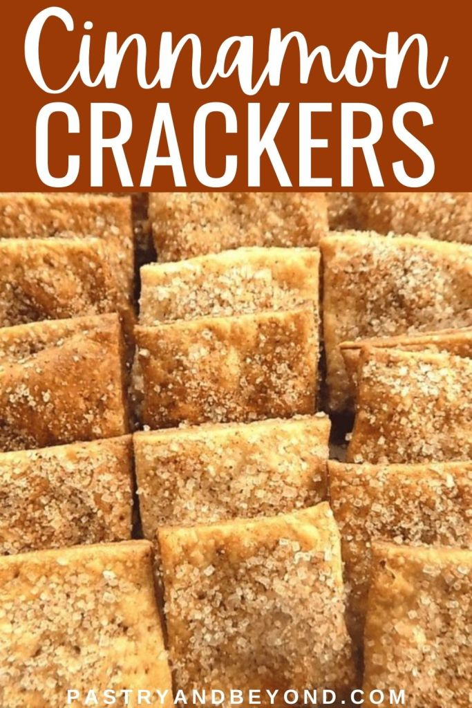 Cinnamon crackers in a row.