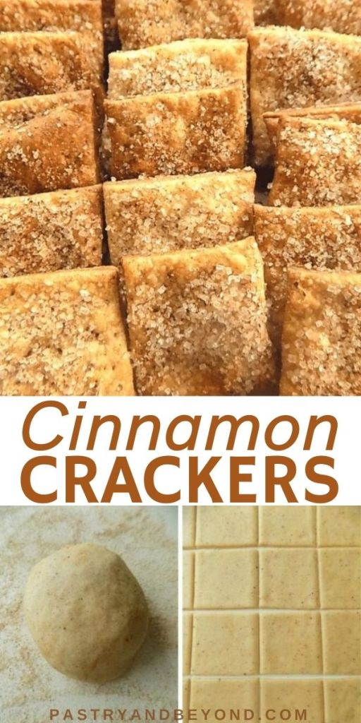 Cinnamon crackers in a row and steps of making these crackers.