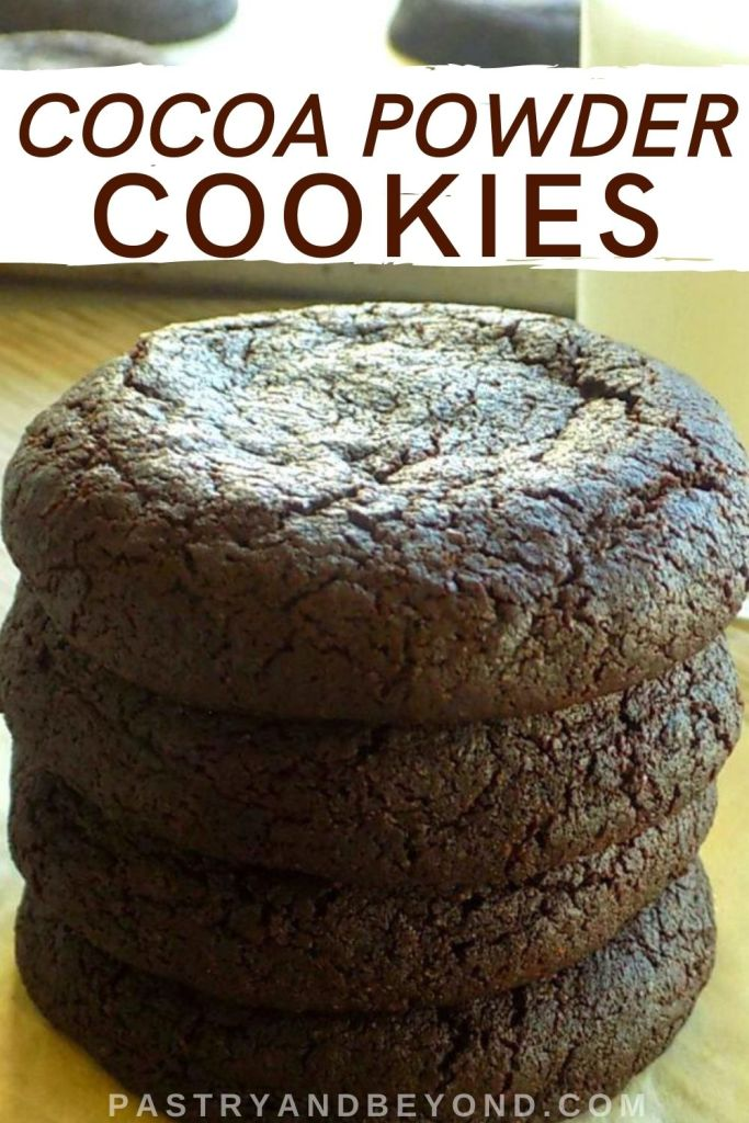 Stacked chocolate cookies with text overlay.