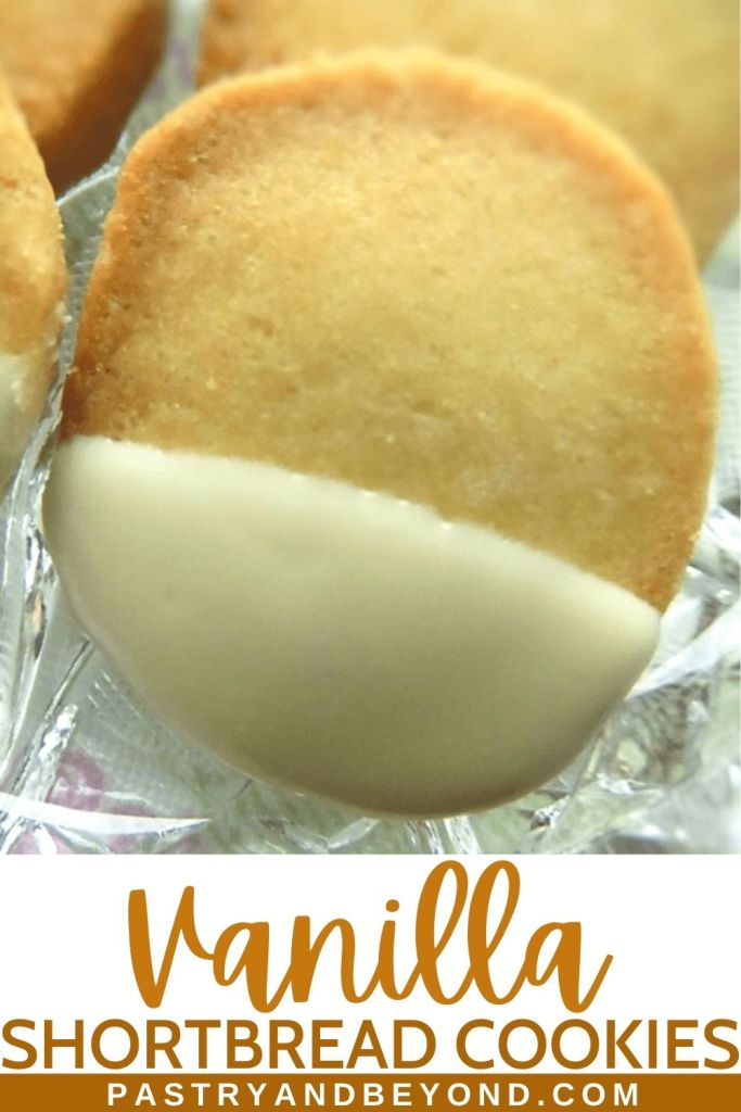 White chocolate dipped vanilla shortbread cookie.