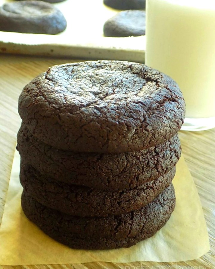 Stacked chocolate cookies.
