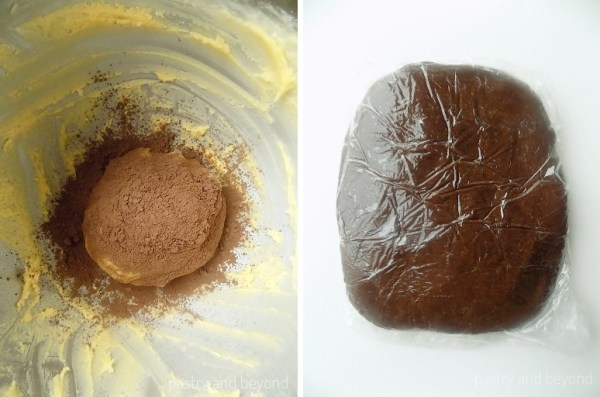 Step by step pictures of Swirl Cookie Dough: Cocoa powder is added to the half of the vanilla dough in the first Picture, and cocoa dough is covered with plastic film in the second picture.