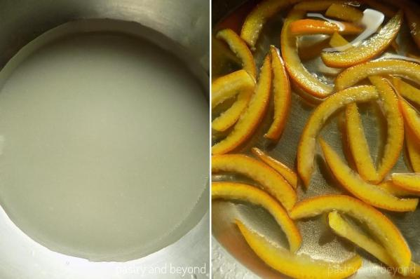 Placing the sugar and water in a pan to make a syrup and adding the orange peels and lemon juice.