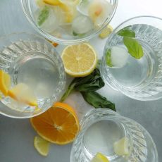 Lemon-Orange-Basil Leaves Ice Cubes