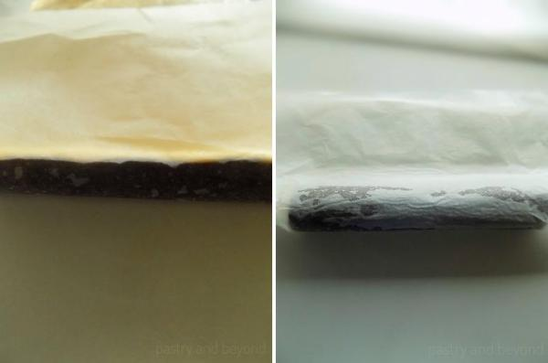 Making a cylinder out of the long side of the dough with thehelp of parchment paper.