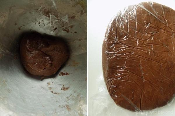 Letting the cocoa cookie dough-wrapped in plastic film-rest.