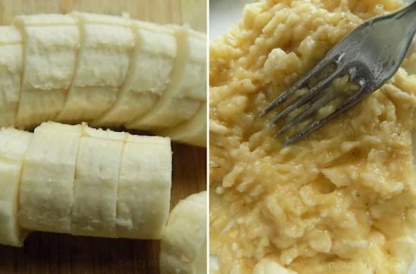Mashing the banana slices with a fork.