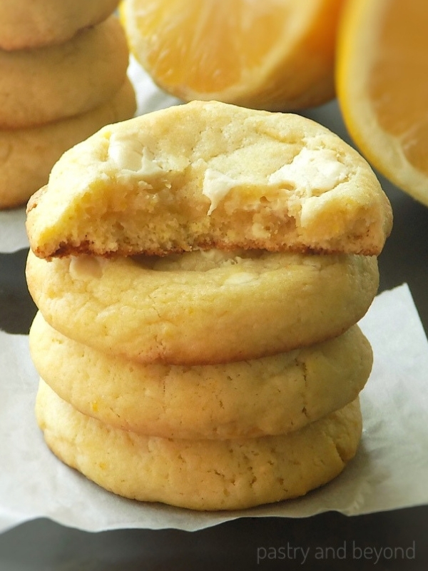 Stacked Lemon White Chocolate Cookies