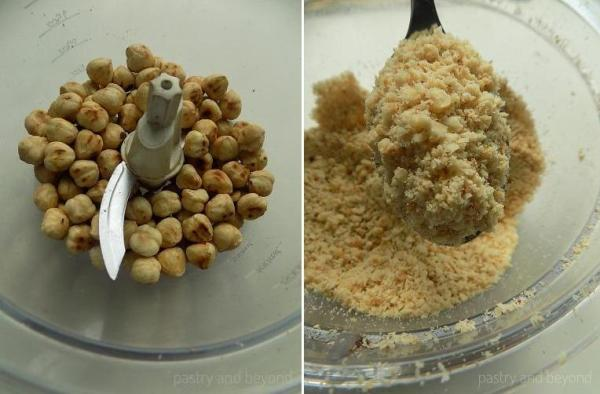 Steps of Making Hazelnut Chocolate Balls: Pulsing the hazelnuts in a food processor.