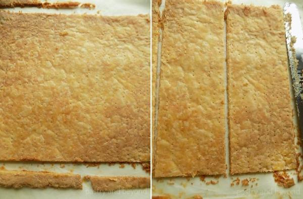 Collage of trimming the edges of baked pastry and cutting into 3 pieces.
