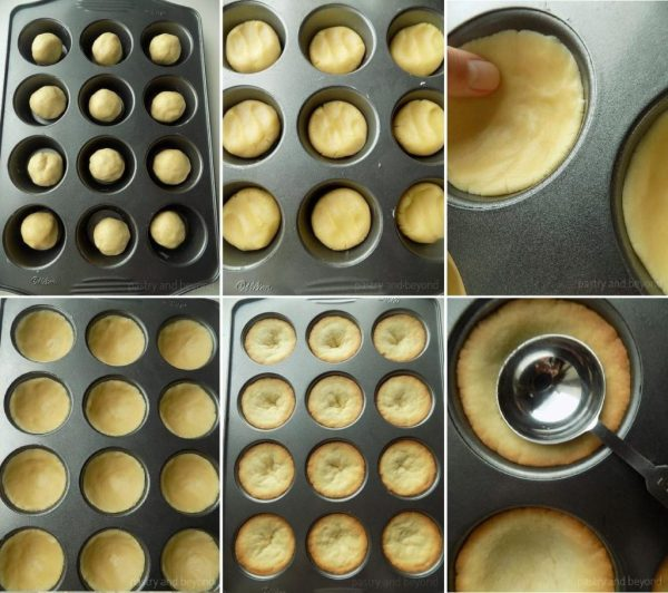 How to Make Cookie Cups: Dividing the dough into cupcake pan. Pressing the ball onto bottom and sides to give a cup shape. Pressing to the center of the puffed cookie cups with back of a spoon.