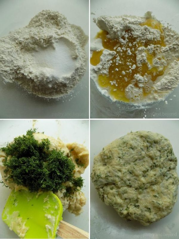 Steps of Making Dill Crackers: Mixing the flour and salt in a bowl, adding and mixing the olive oil & water, adding in the fresh dills and mixing with a spatula.