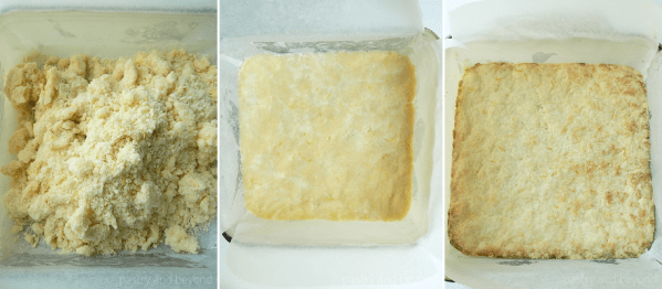 Spreading the dough into a square dish and baking.
