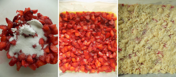 Tossing strawberries with sugar and cornstarch. Covering the crust with strawberry mixture and adding the crumbles on top.