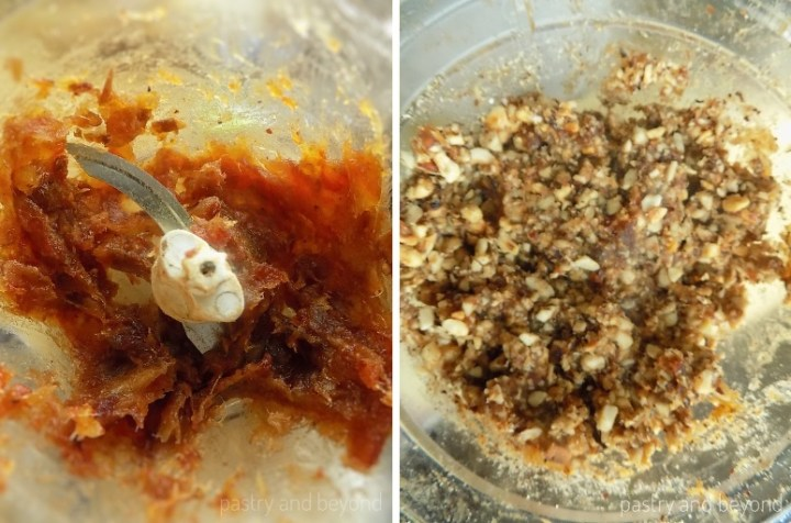 Collage of pulsing dates until they form a paste and adding nuts.