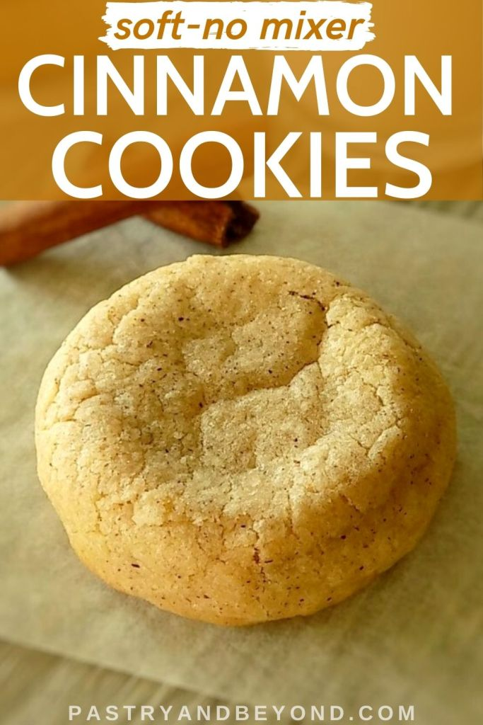 Soft cinnamon cookie with text overlay.