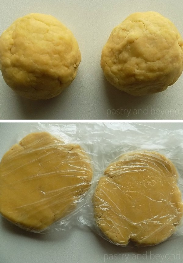 Steps of Making Crunchy Savory Cookies: Dividing the dough in half and covering each with a plastic film to let them rest in the fridge.
