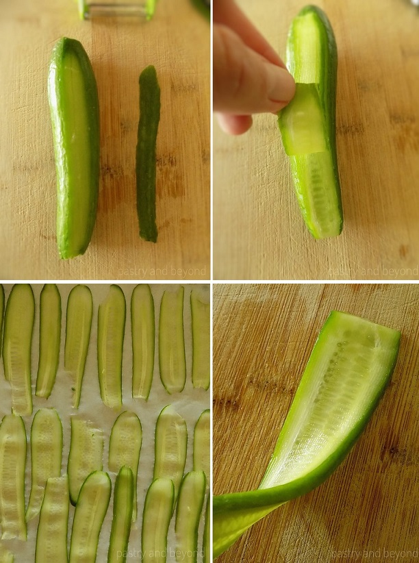 Peeling cucumbers into thin strips.