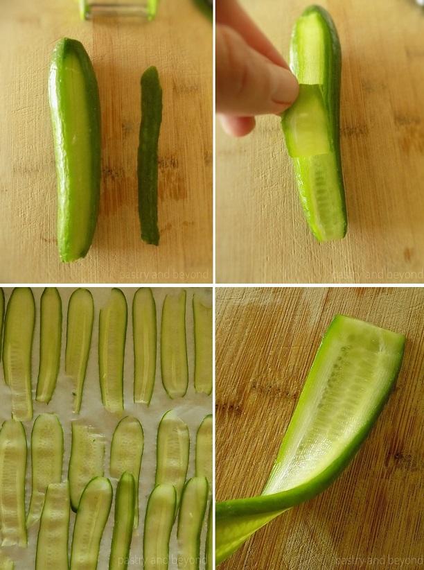Peeling cucumbers into thin strips.